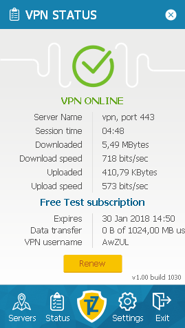 Status screen Trust.Zone VPN