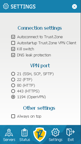 Connection settings screen