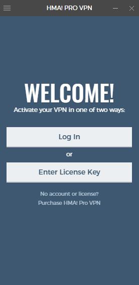 Het welkomstscherm van de HMA-app