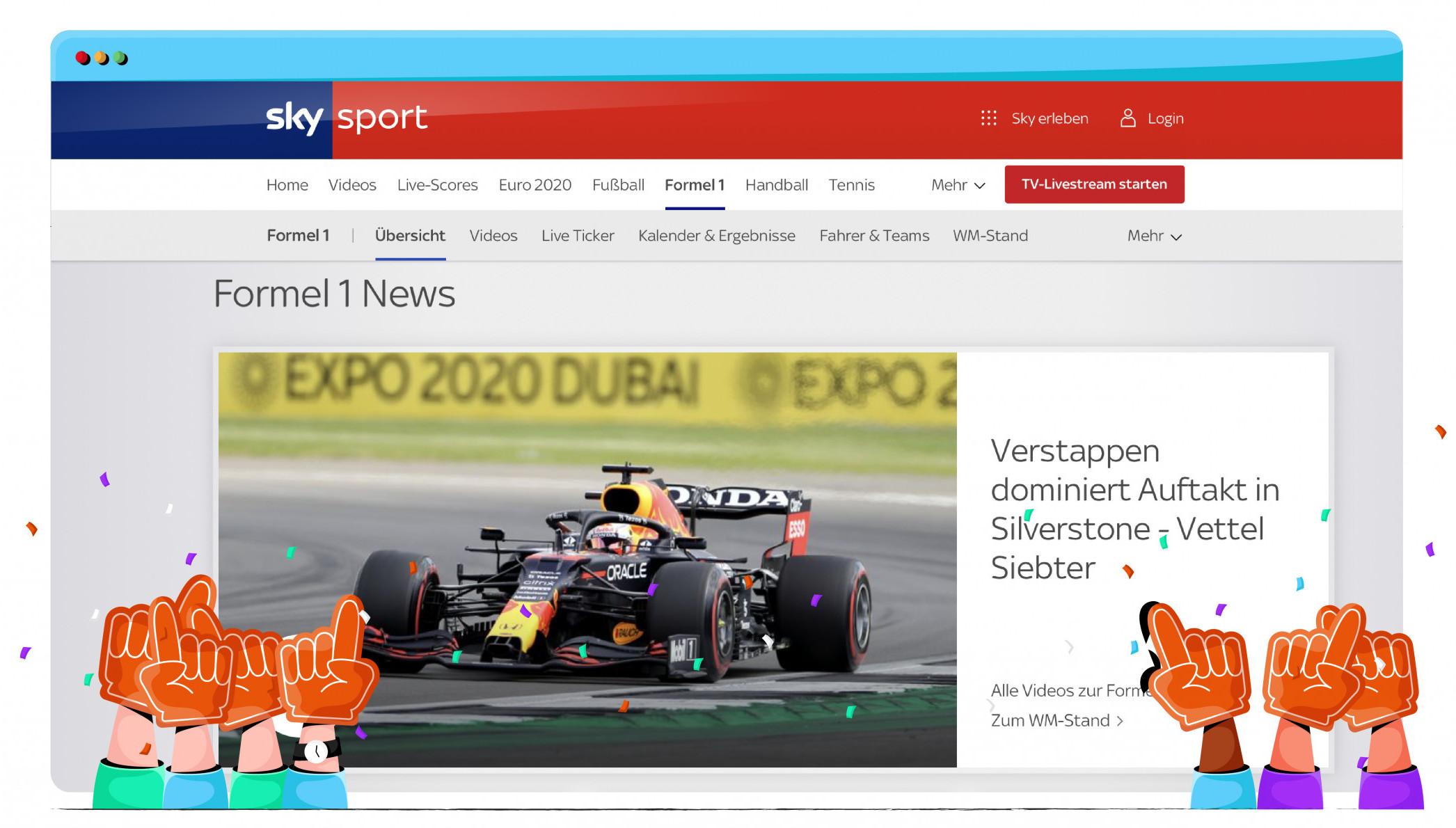Sky Sports Almanya'da yayınlanan bazı Formula 1 yarışları