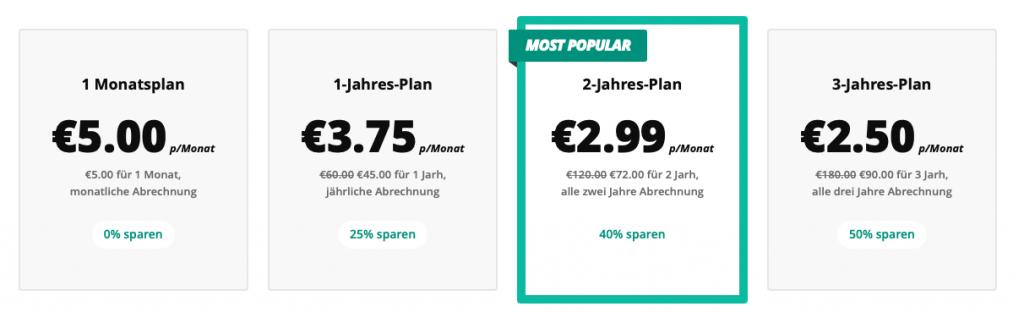 Anzeige von 5 Euro VPN Preisgestaltung