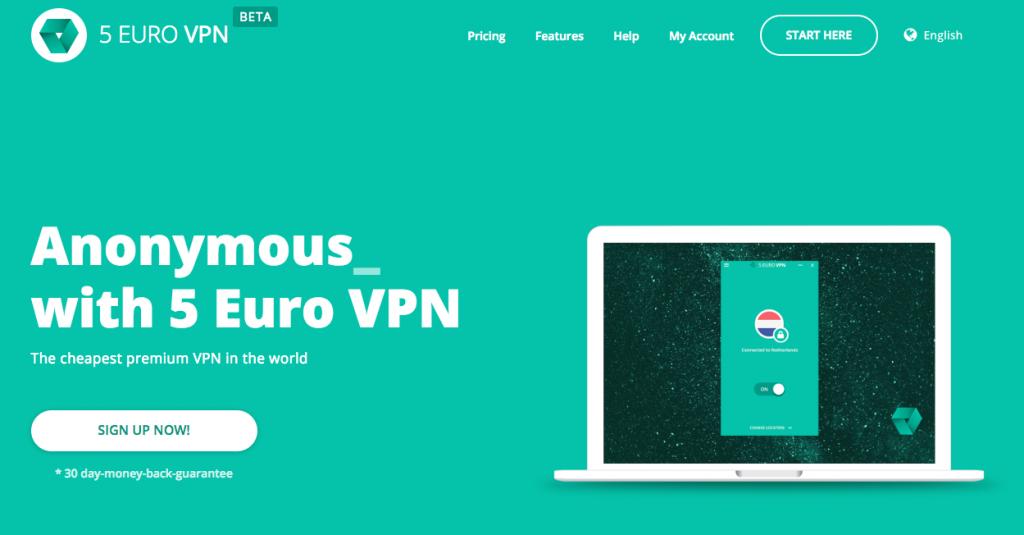 Anzeige von 5 Euro VPN Webseite