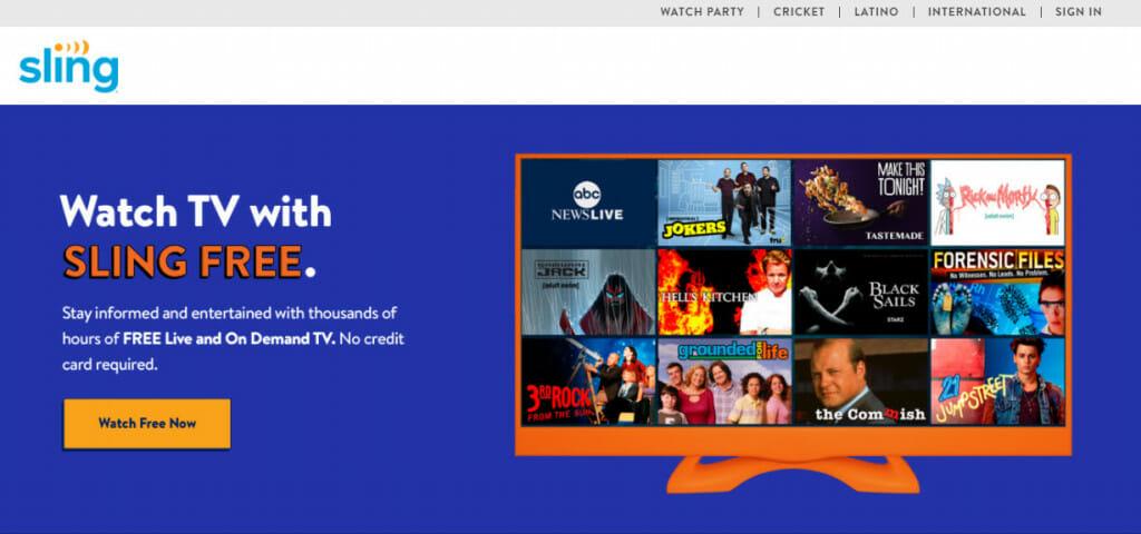 Piattaforma di streaming Sling Free