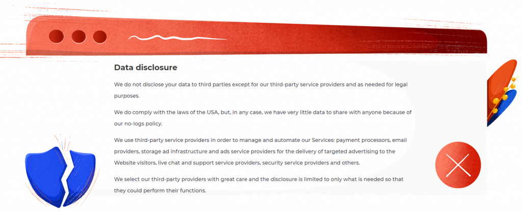 Atlas VPN data disclosure clause