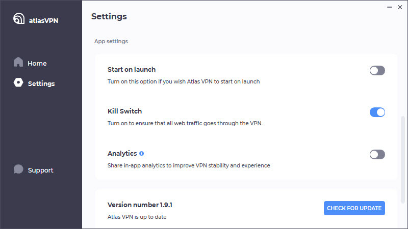 Atlas VPN extra options and features