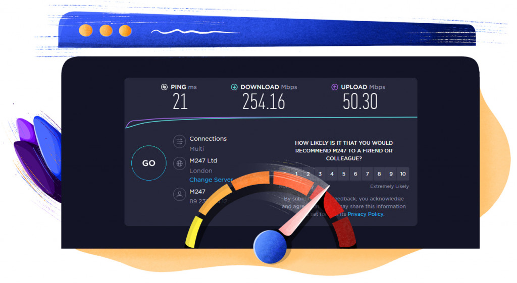 Atlas VPN UK server speed test