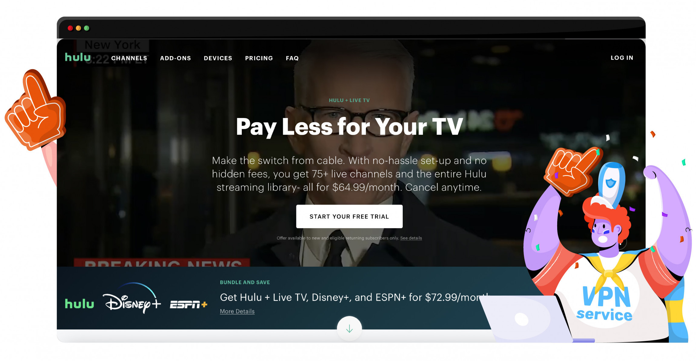 Access subscription bundles and family entertainment on Hulu + Live TV