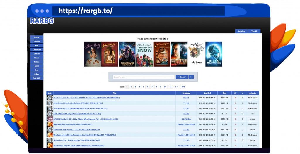 RARBG torrenting site voor films, shows en software
