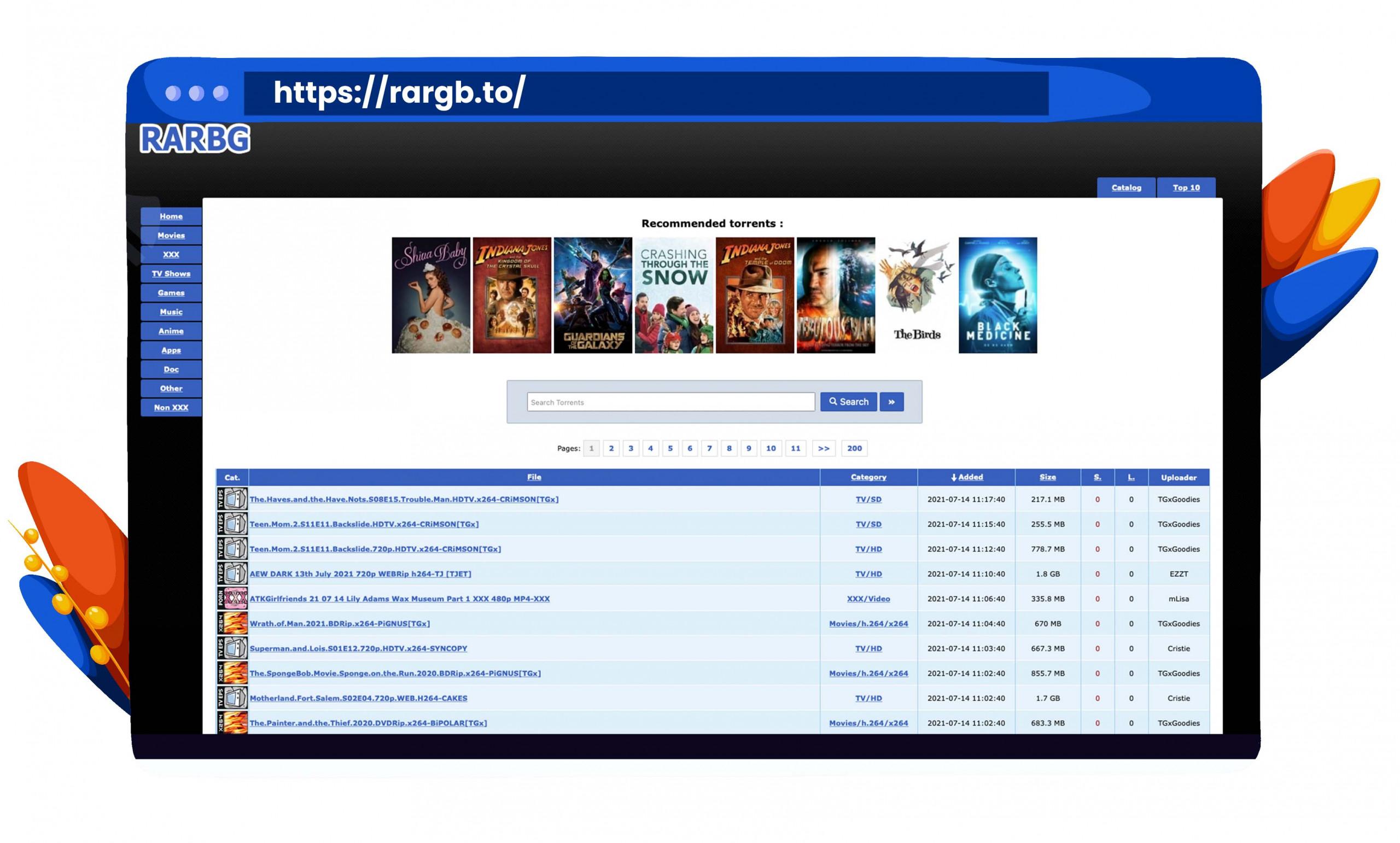 RARBG torrenting movies, shows and software