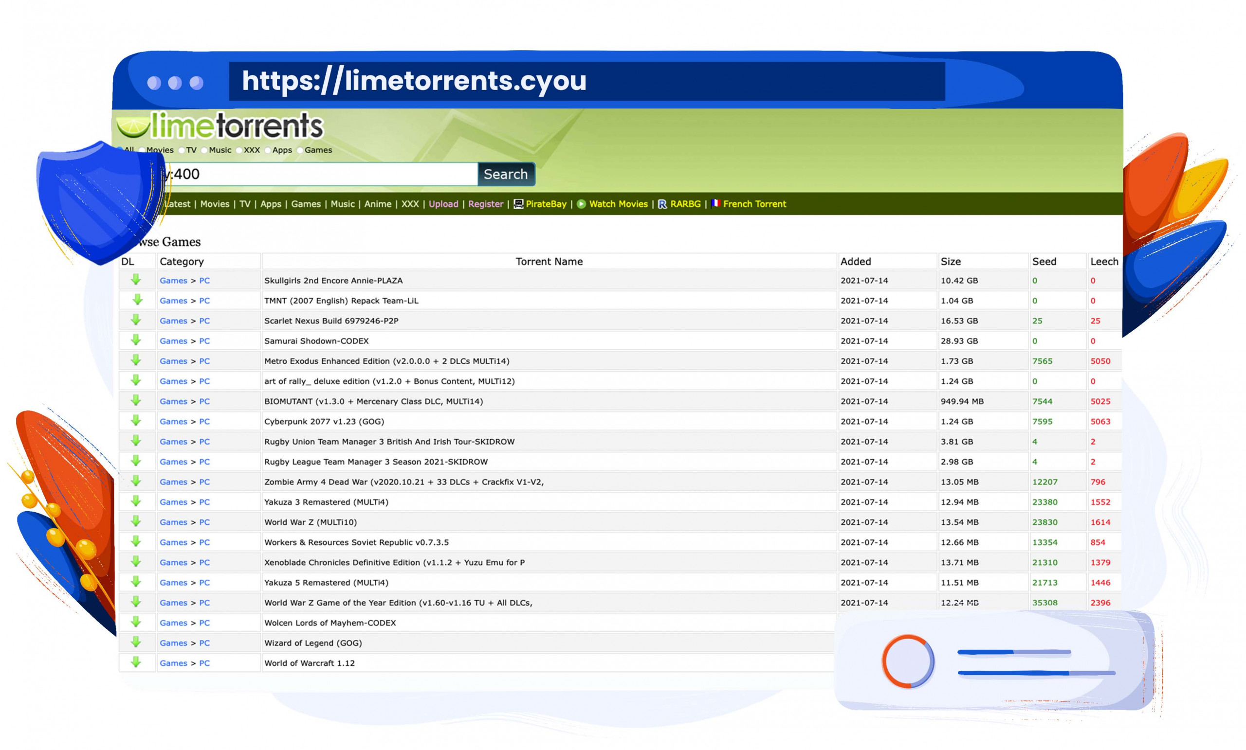 LimeTorrents has a wide catalogue of files