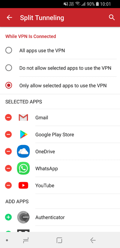 ExpressVPN split tunneling feature for Android