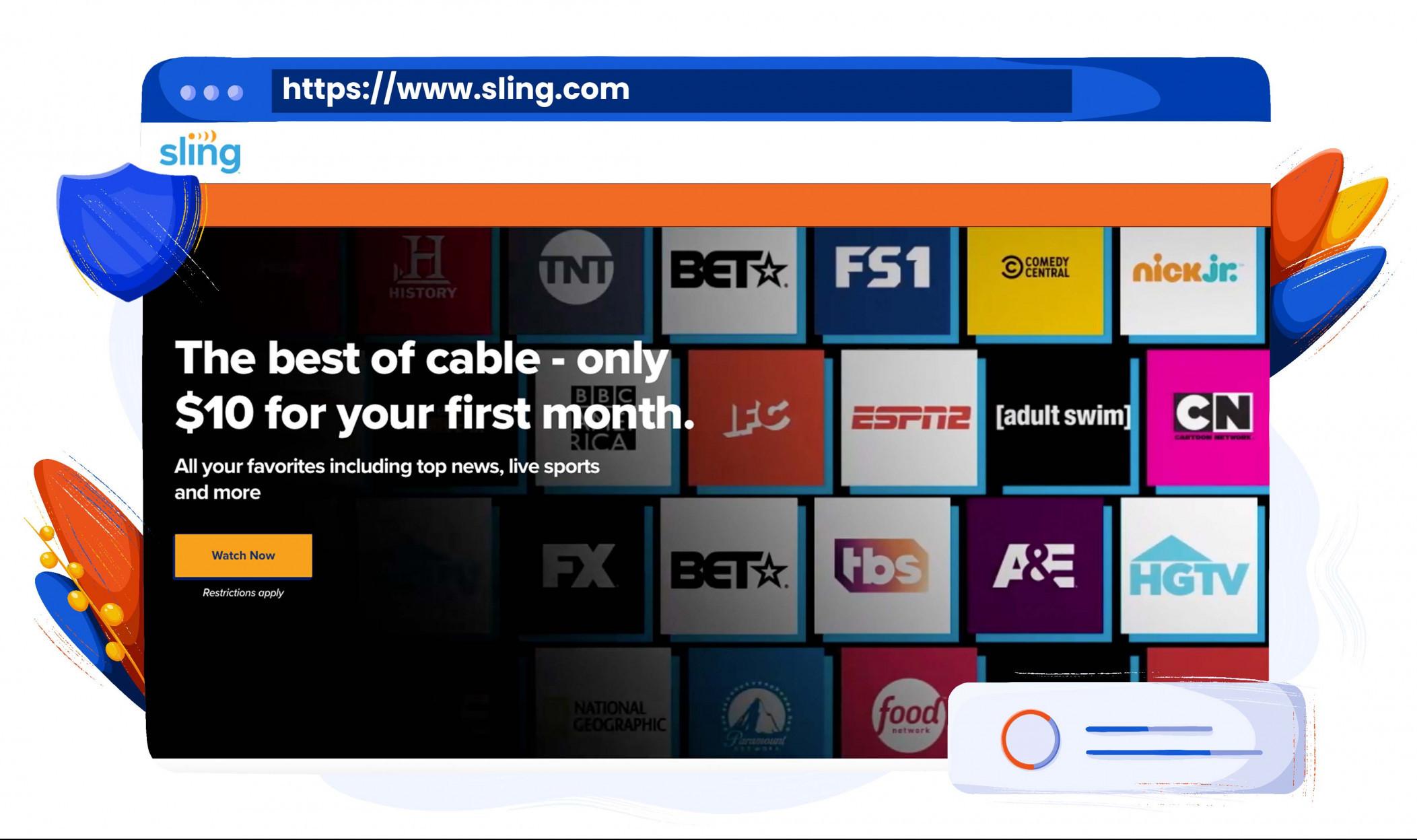 Sling TV ermöglicht es, Serien, Filme und Infotainment zu empfangen