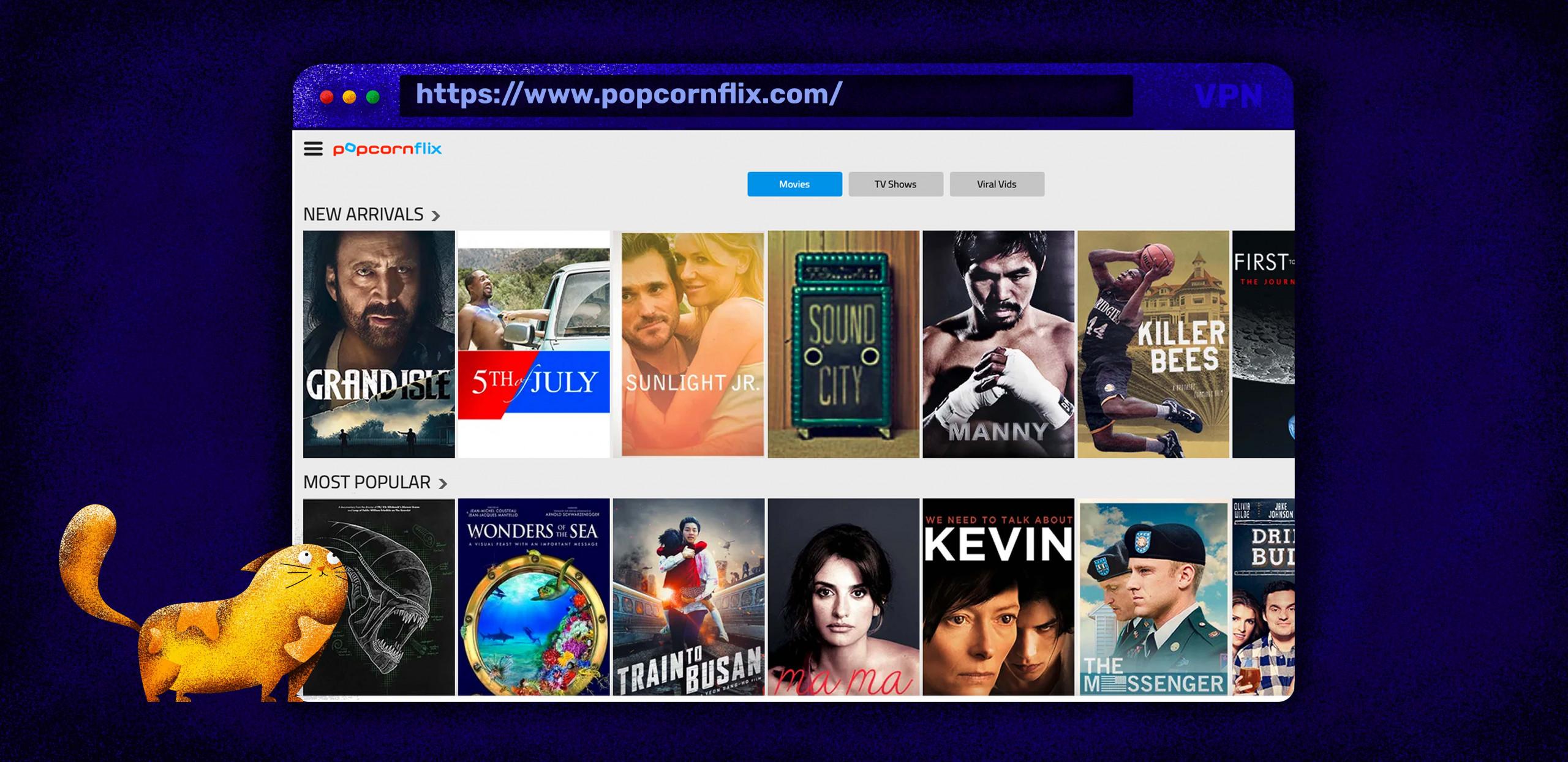Popcornflix ist ein kostenloser Film-Streaming-Dienst, der Filme und TV-Serien anbietet