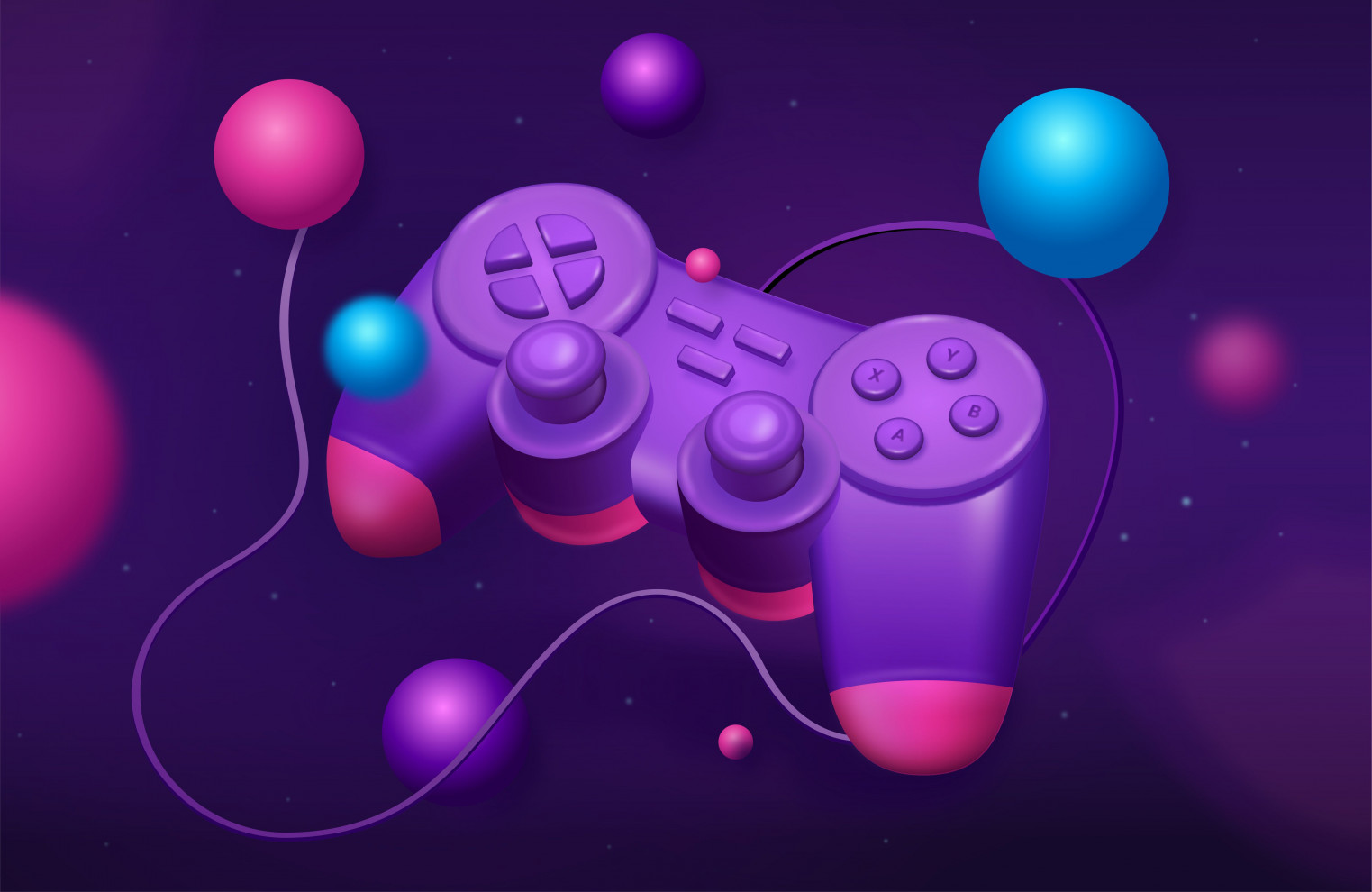 Banner with illustrated gamepad