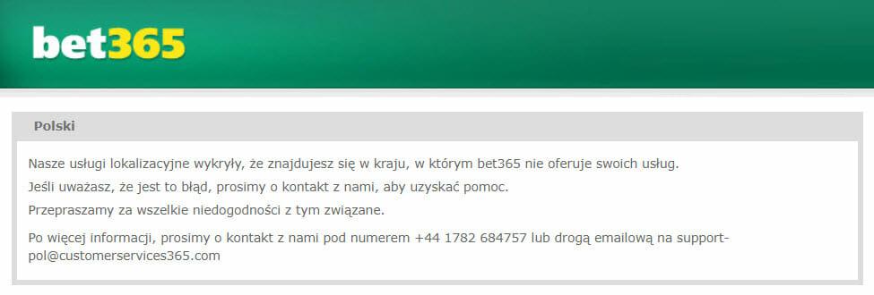 bet365 blokada w Polsce