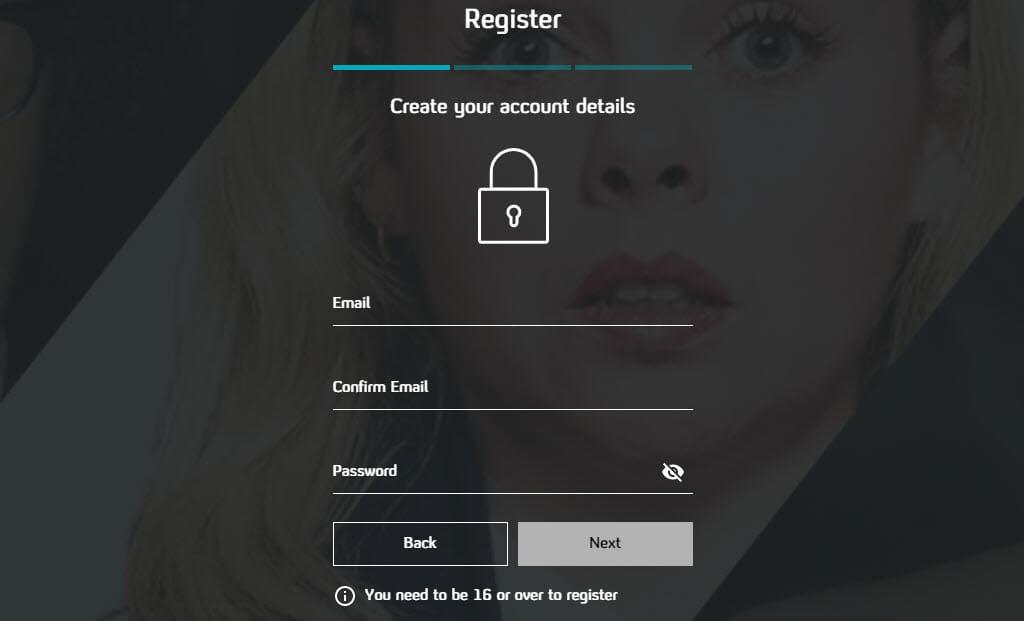 Registration form on Channel 4