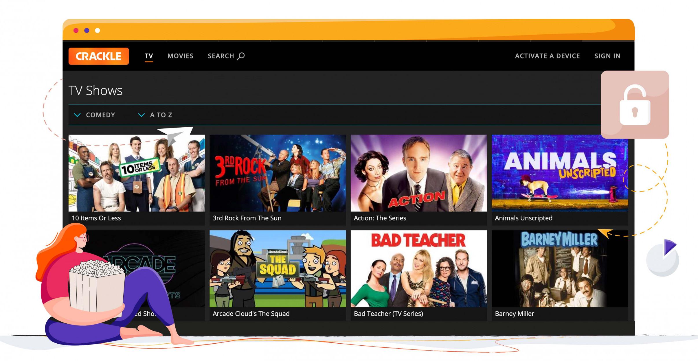 A tévéműsorok széles választékát streamelheti a Crackle-en