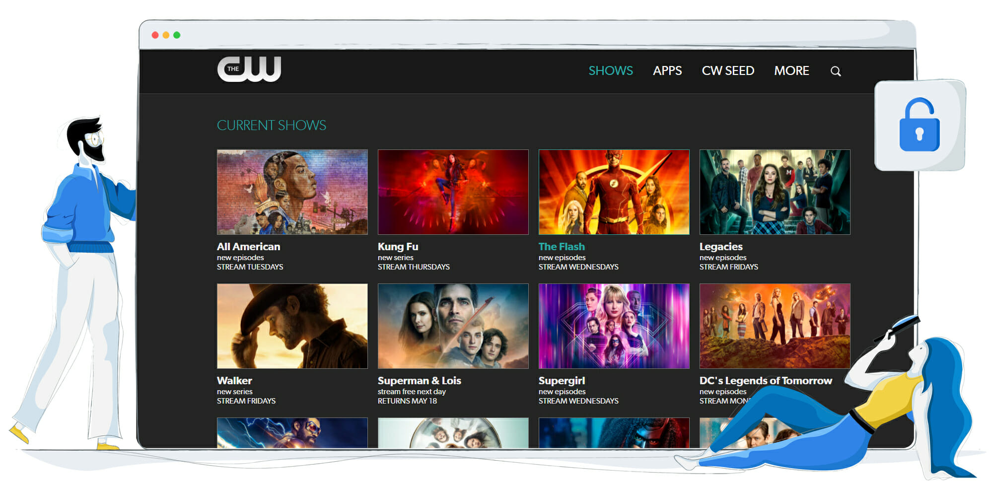 All shows streaming on CW TV