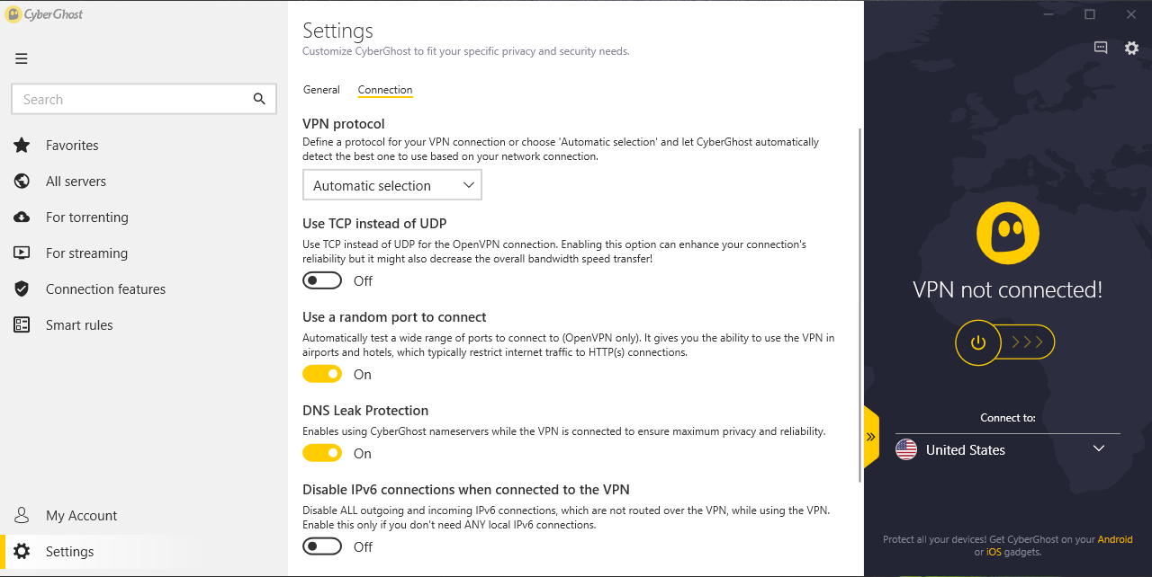 App connection settings