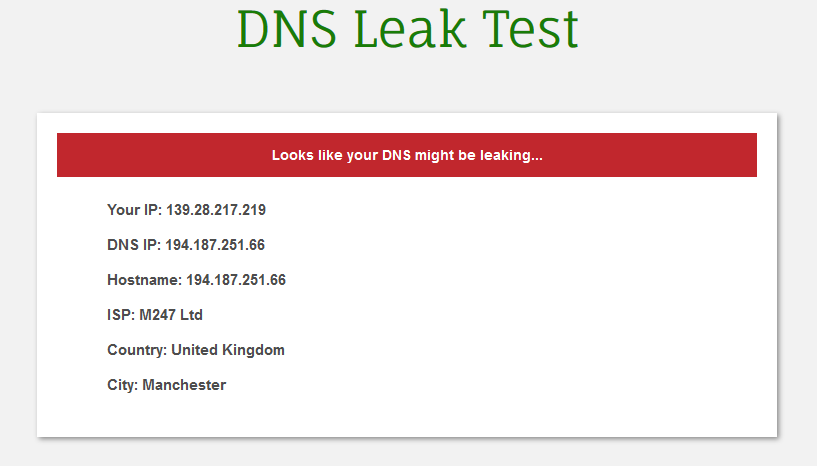 DNS leak test NL server UK resultaat