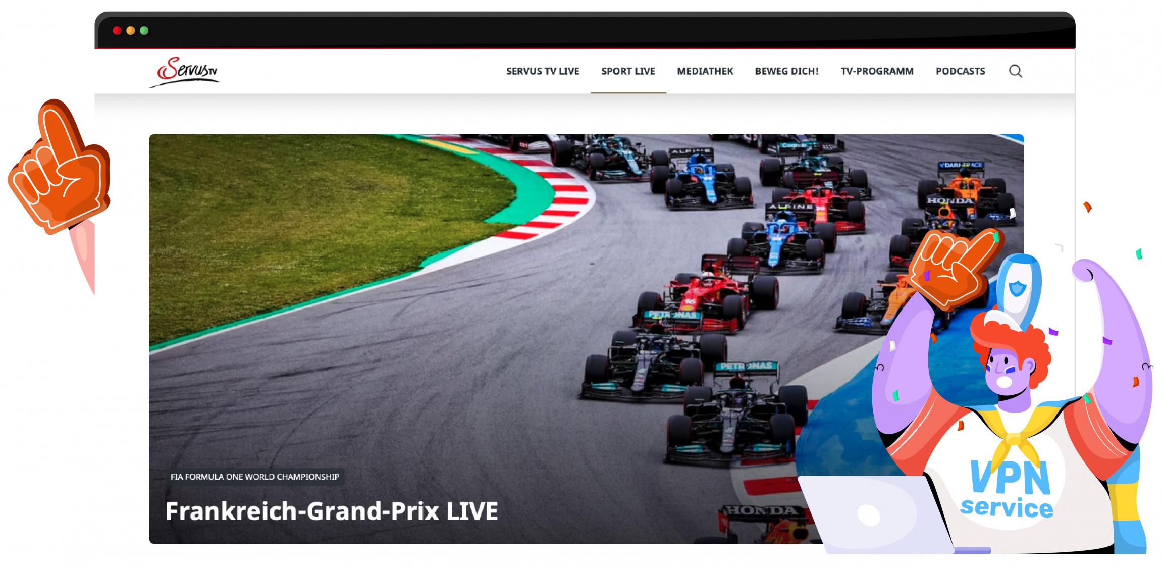 De Emirates Grand Prix wordt door Servus TV gestreamed
