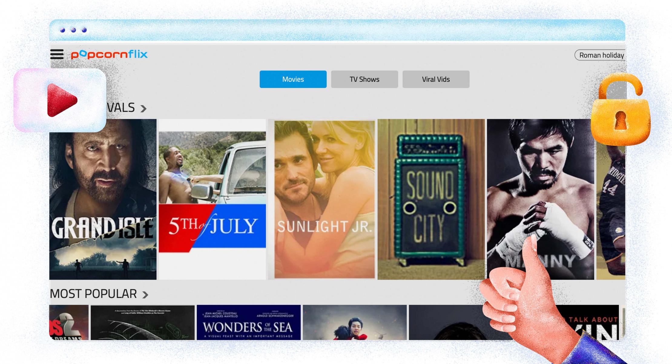 Popcornflix'te yayınlanan filmler ve TV şovları