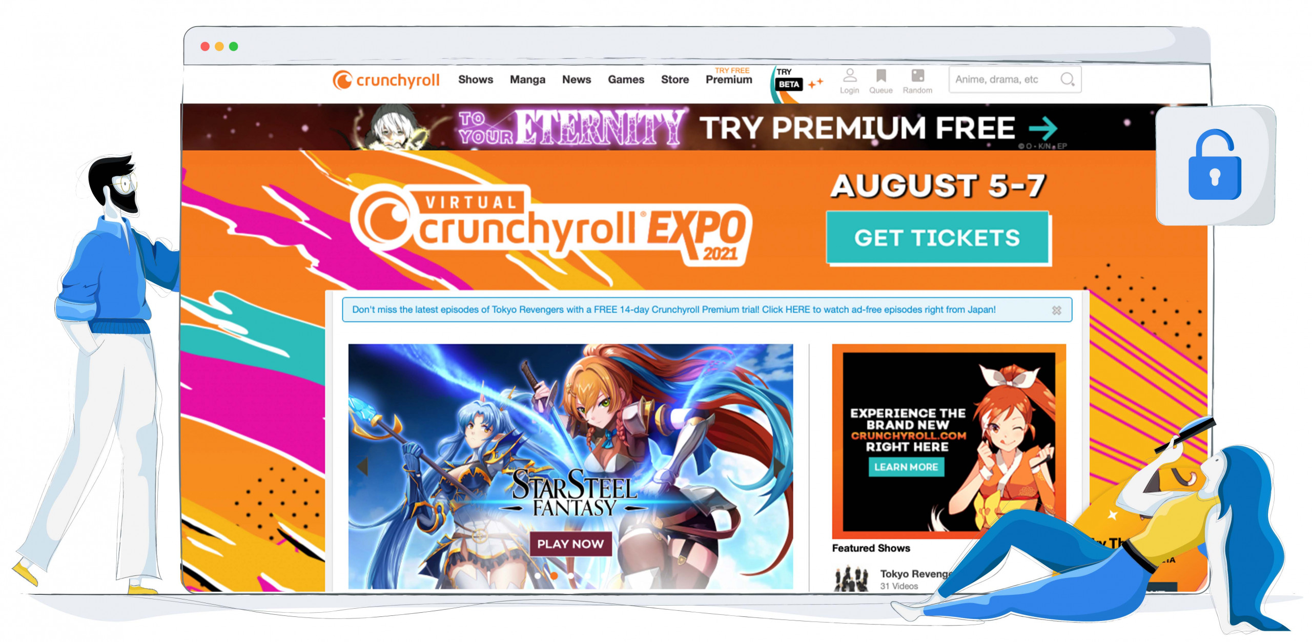 Crunchyroll'da akış için Anime ve Manga mevcut