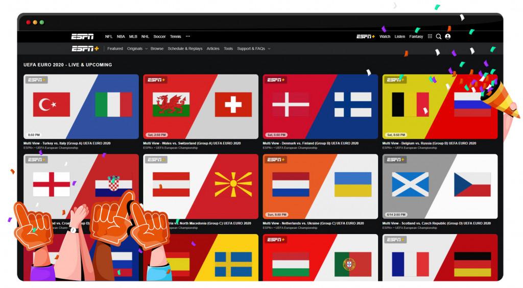 European Football Championship 2020 streaming on ESPN +