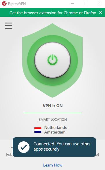 ExpressVPN connected screenshot