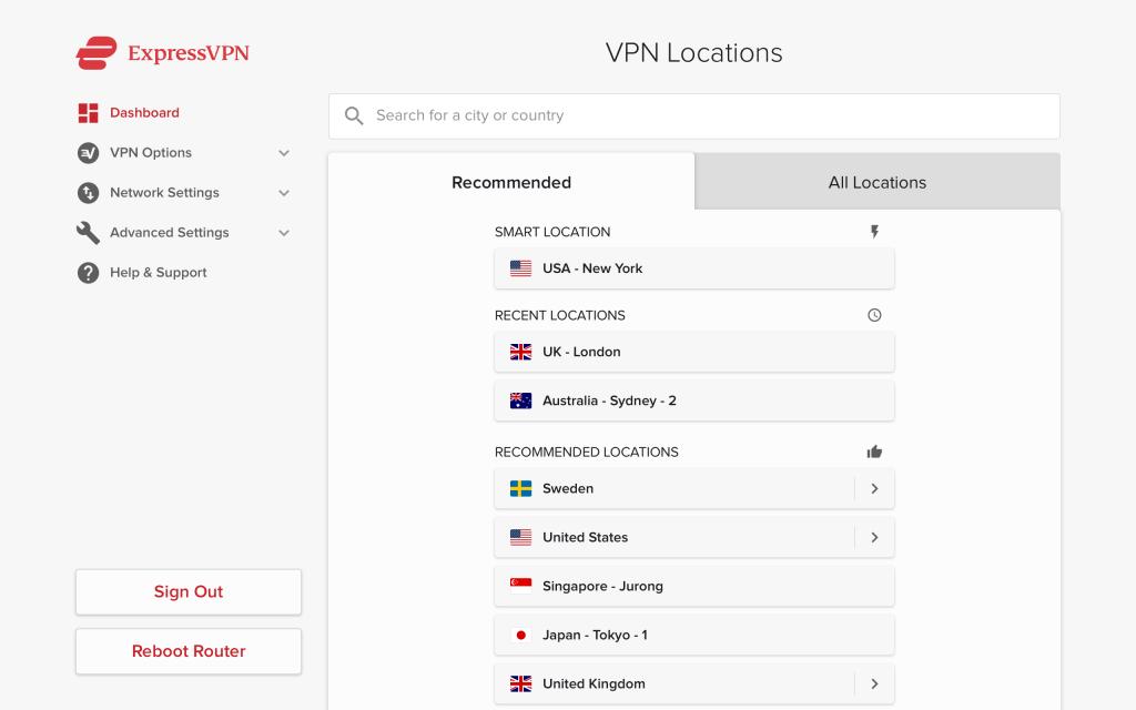ExpressVPN sunucuları ve sunucu konumları
