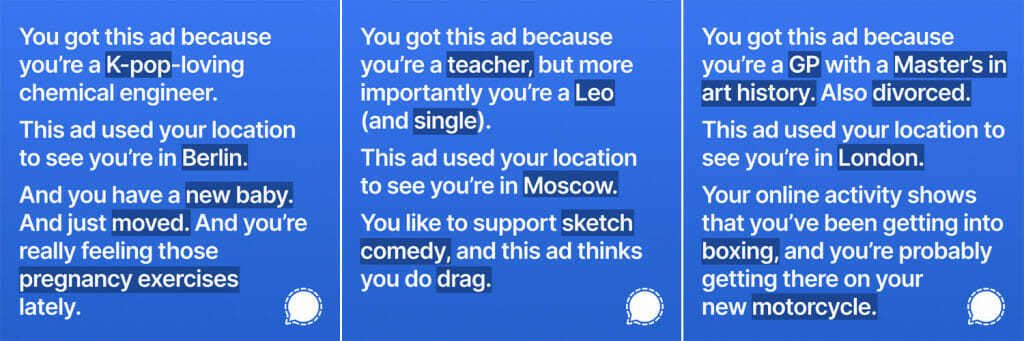 Signal's ads about Facebook's privacy