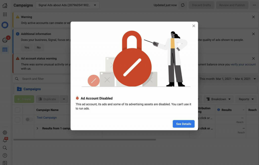 Facebook bans Signal's ad account
