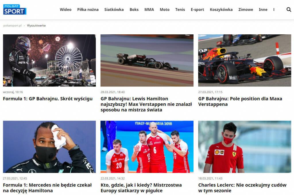 Streaming Formuły 1 w Polsacie Sport