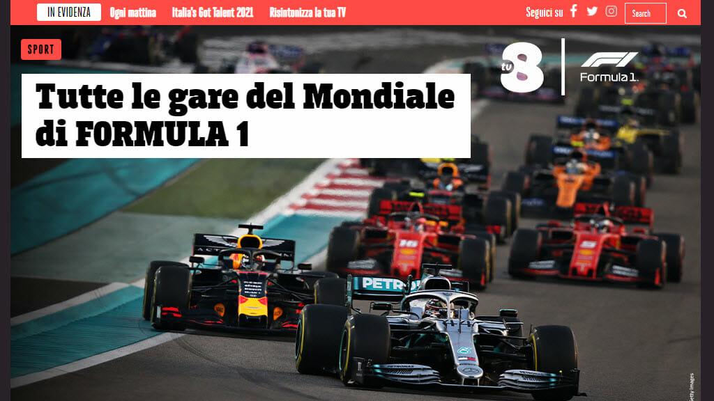 TV8 trasmette tutte le gare di Formula 1