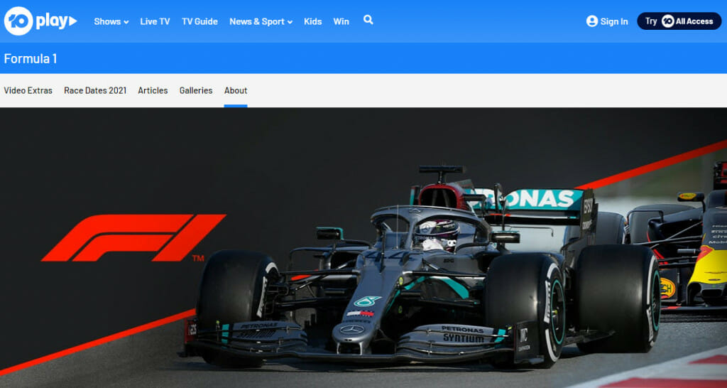 Formula 1 streaming on Network 10 Australia