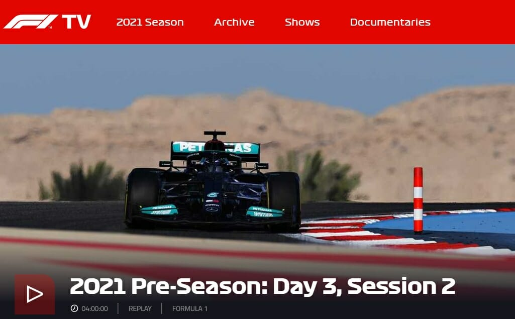 Formula 1 streaming on F1 TV