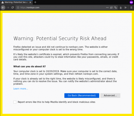 Firefox browser detects security risk on NordVPN website