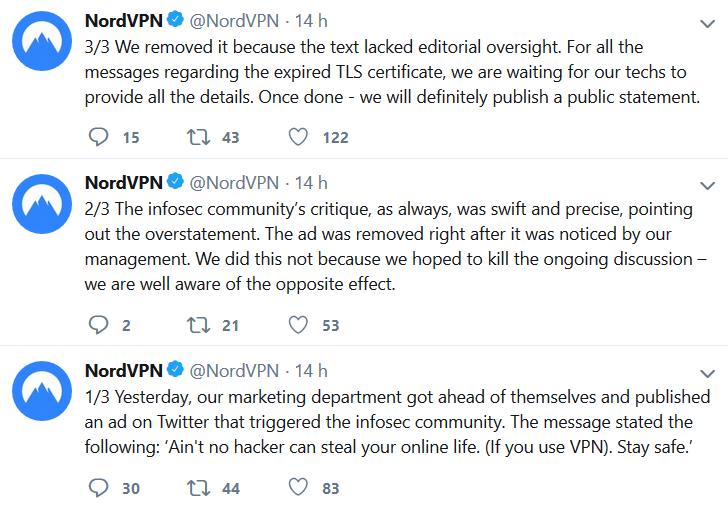 NordVPN tweet was deleted