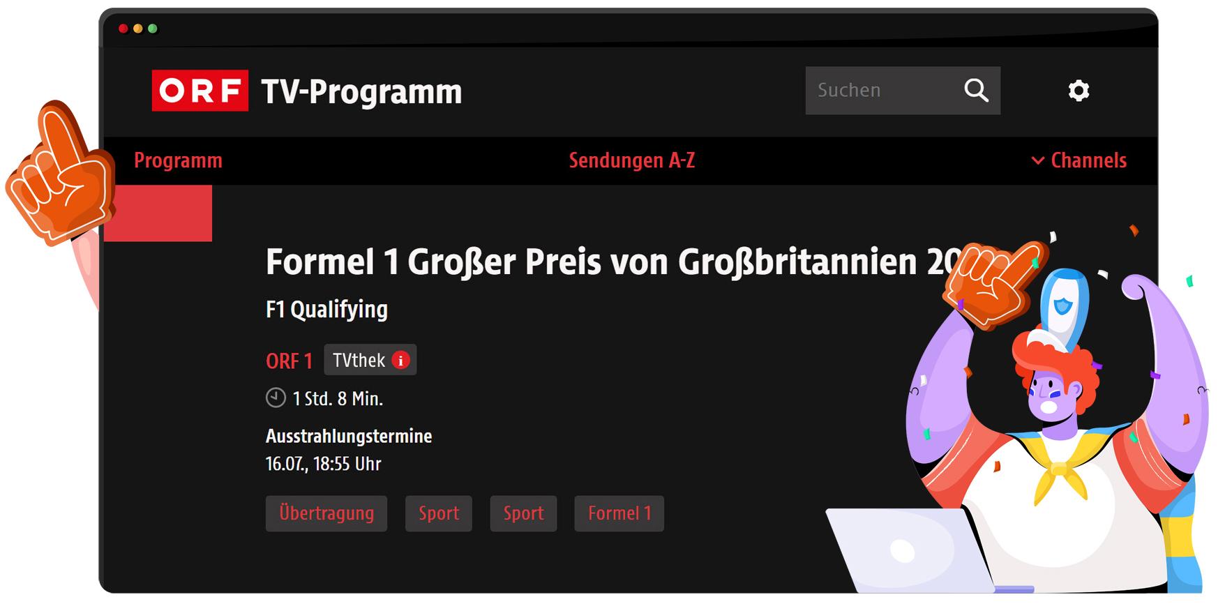 ORF1 ücretsiz Formula 1 akışı