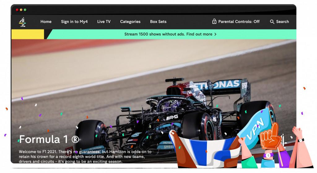 F1 Silverstone GP-streaming op Channel 4