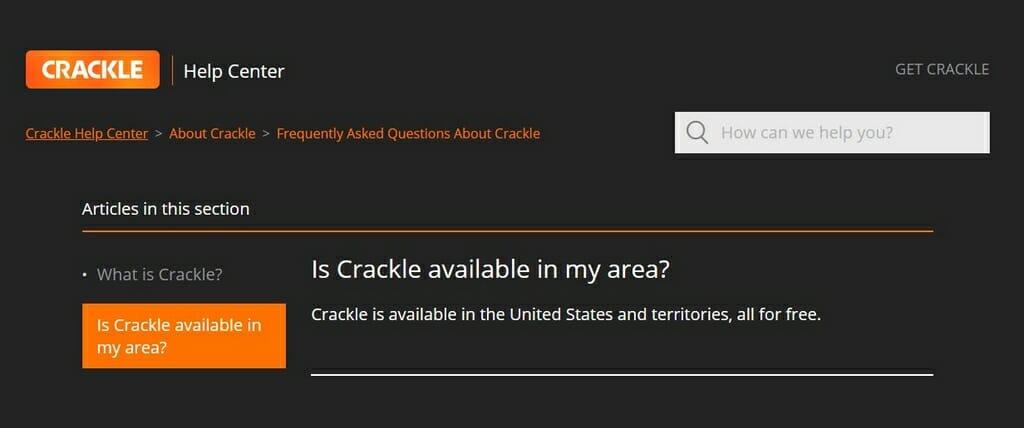 Limitazioni geografiche di Crackle