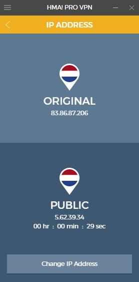 Anzeige mit Ihrer ursprünglichen und Ihrer neuen IP-Adresse