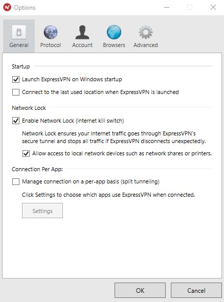 General settings ExpressVPN app