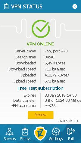 Statusbildschirm Trust.Zone VPN