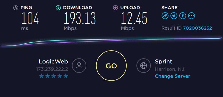 PIA Geschwindigkeitstest US-Server-Anzeige
