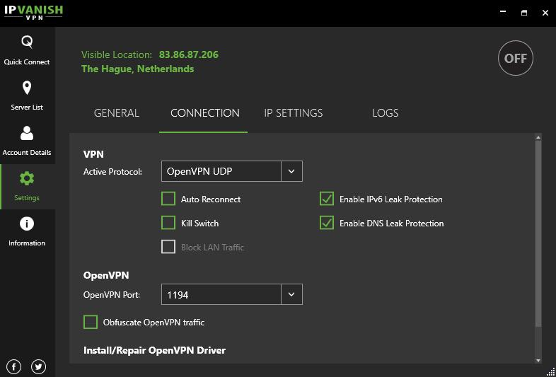 Connection servers settings screen IPVanish