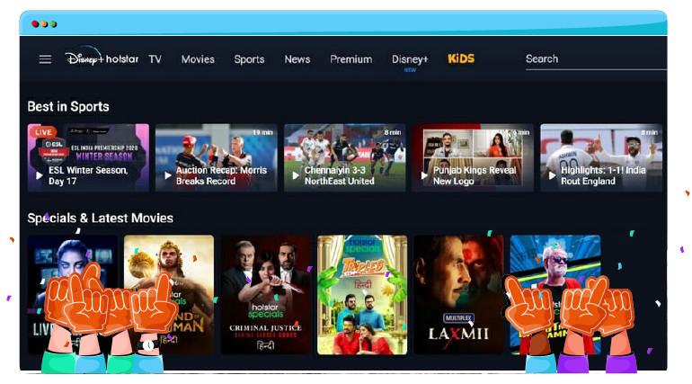 Films en sport op Hotstar India