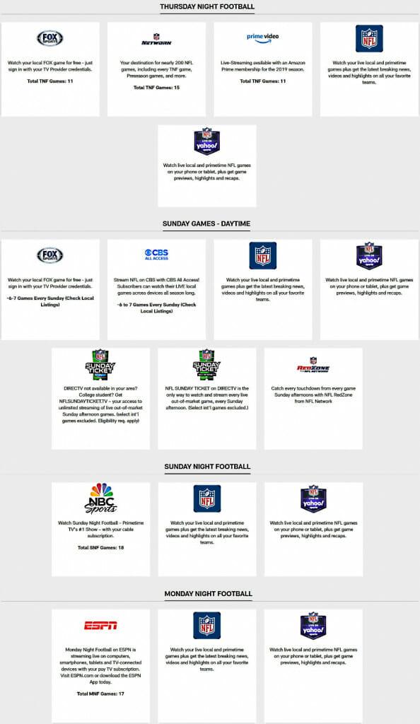 NFL streaming ütemezése