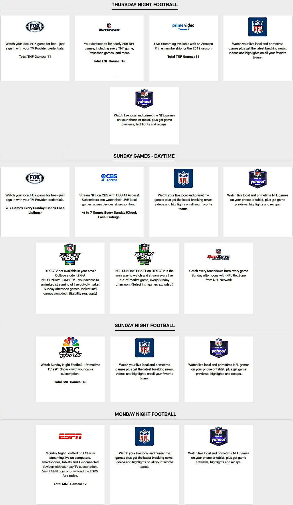 NFL Free Streaming Schedule 2