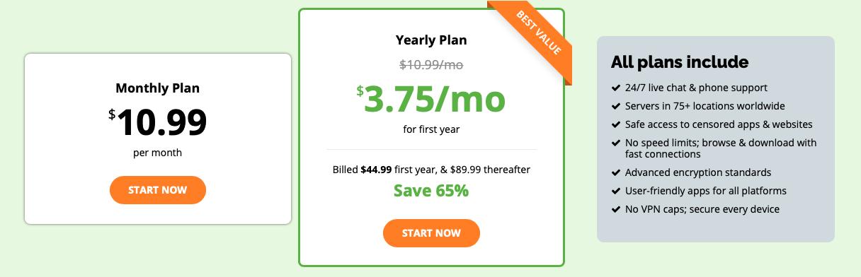 IPVanish subscription plans